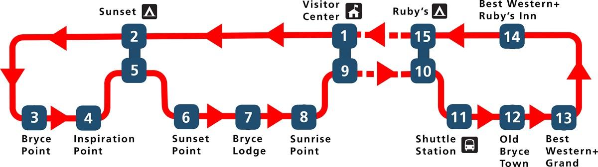 Bryce Canyon 2019 Shuttle Schedule Map