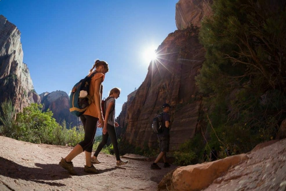 Hiking at Zion National Park near Bryce Canyon