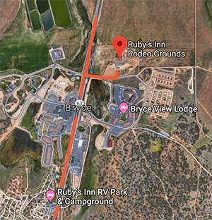 directions to the Ruby's Inn Rodeo grounds